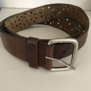 Brown Leather Belt with Cutout Design